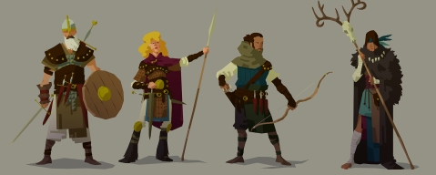 character design, heroic fantasy, warrior, sorceress, witch, archer, flat design, Vincent Maury