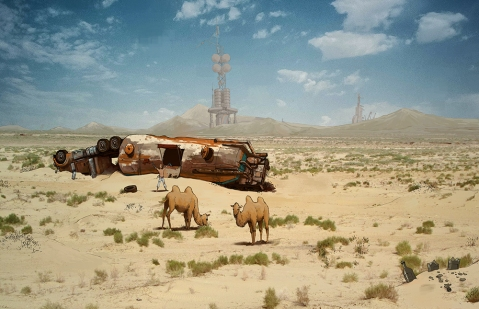 concept art, over paint, desert, illustration, Vincent Maury