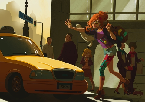 concept art, video game, illustration, girl, town, Vincent Maury